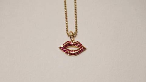 Pavé Ruby Small Lips Necklace