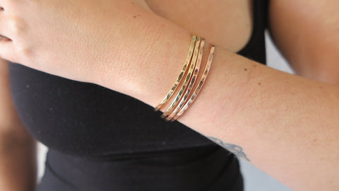 MIXED SET 6 (2 Thin Gold, 2 Thin Rose Gold)