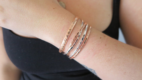 MIXED SET 7 (2 Thin Silver, 2 Thin Rose Gold, 1 Thick Rose Gold)