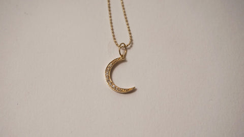 Small Gold & Diamond Moon Necklace