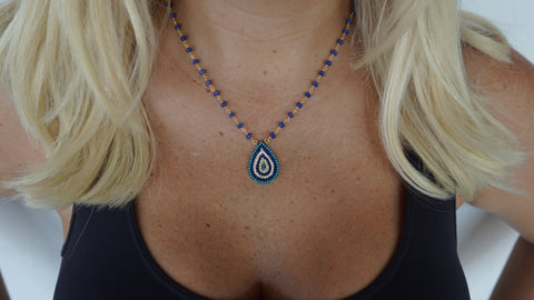 Multi-Blue Teardrop with Blue Onyx Chain