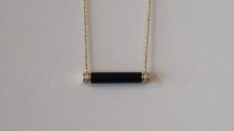 Black Onyx & Pavé Roll Necklace