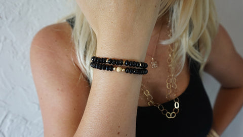 Onyx Beaded Bracelets (Set of 2)
