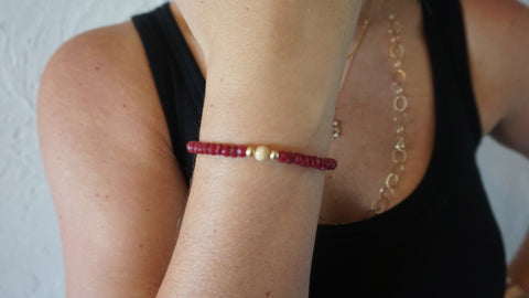 Red Jade Beaded Bracelet (Style 1)