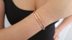 Hammered Rose Gold Cuff Set