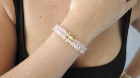 Rose Quartz Beaded Bracelets (Set of 2)