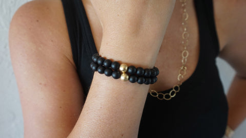 Large Matte Black Onyx Beaded Bracelets