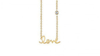 Yellow-Gold Plated Sterling Silver Love Necklace with Bezel Set Diamond