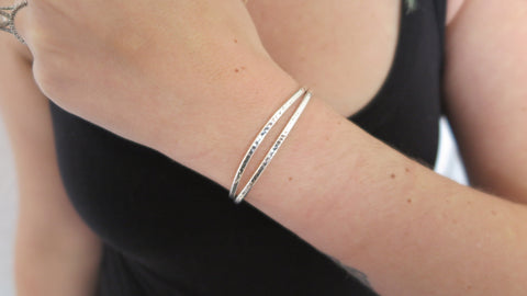 Hammered Silver Cuff Set