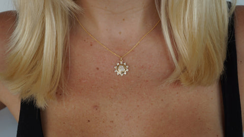 14K Gold Sun Diamond Necklace