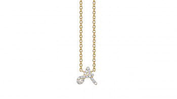 "Gold & Pavé Diamond ""A"" Initial Necklace"