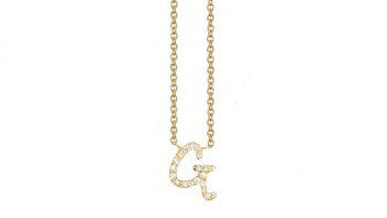 "Gold & Pavé Diamond ""G"" Initial Necklace"