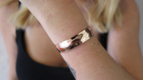 Thin Rose Gold Hammered Cuff