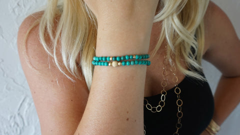 Turquoise Beaded Bracelet (Set of 2)