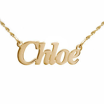 Non Script Gold Name Plate Necklace