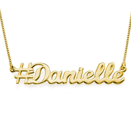 Gold Personalized Hashtag Necklace