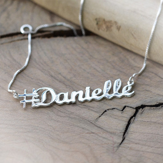 Silver Personalized Hashtag Necklace