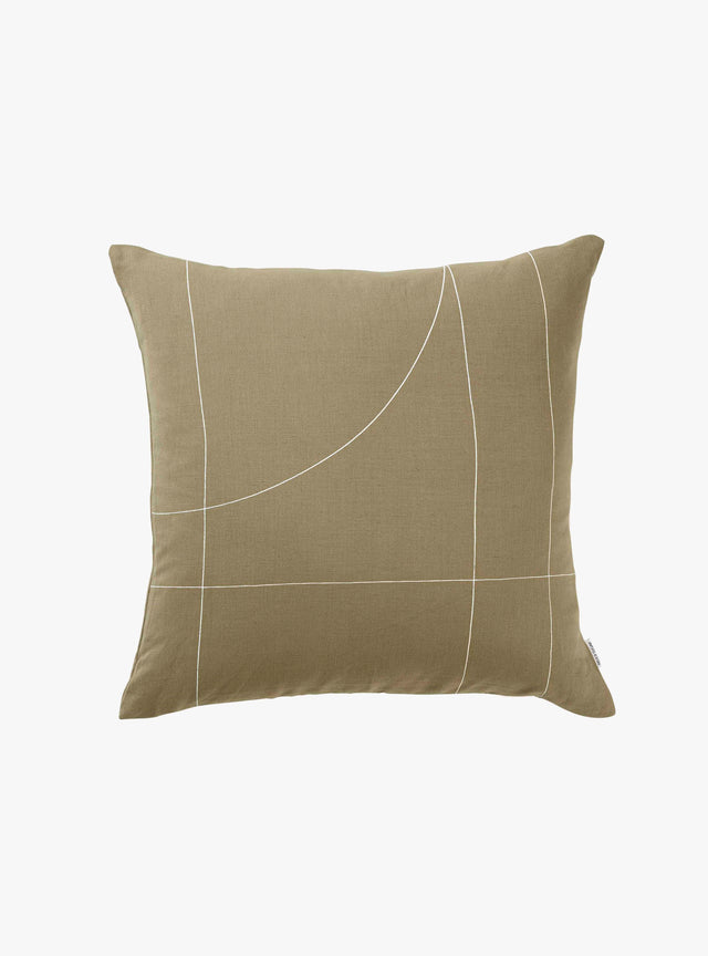 Olive Block Cushion Cover 50cm