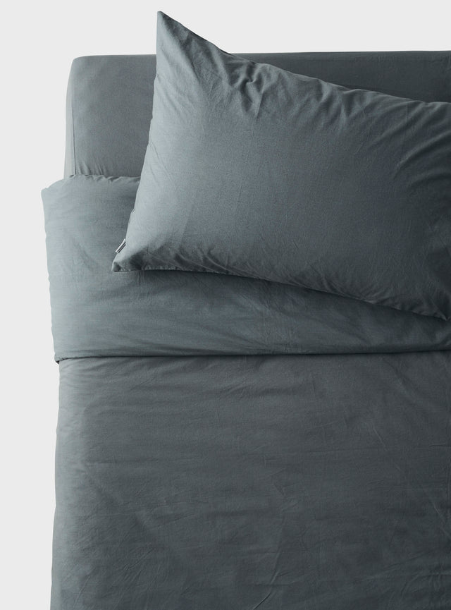 Stonewashed Quilt Cover Petrol