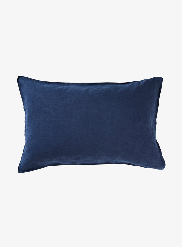 Navy Linen Pillow Case Set