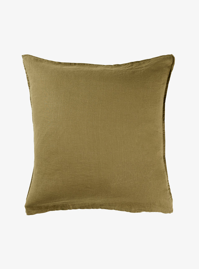Khaki Linen Euro Pillow Case Set