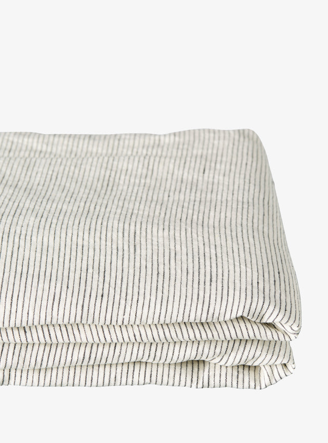Charcoal Pinstripe Linen Fitted Sheet