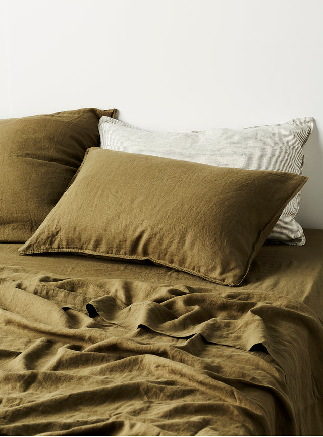 Khaki Linen Pillow Case Set