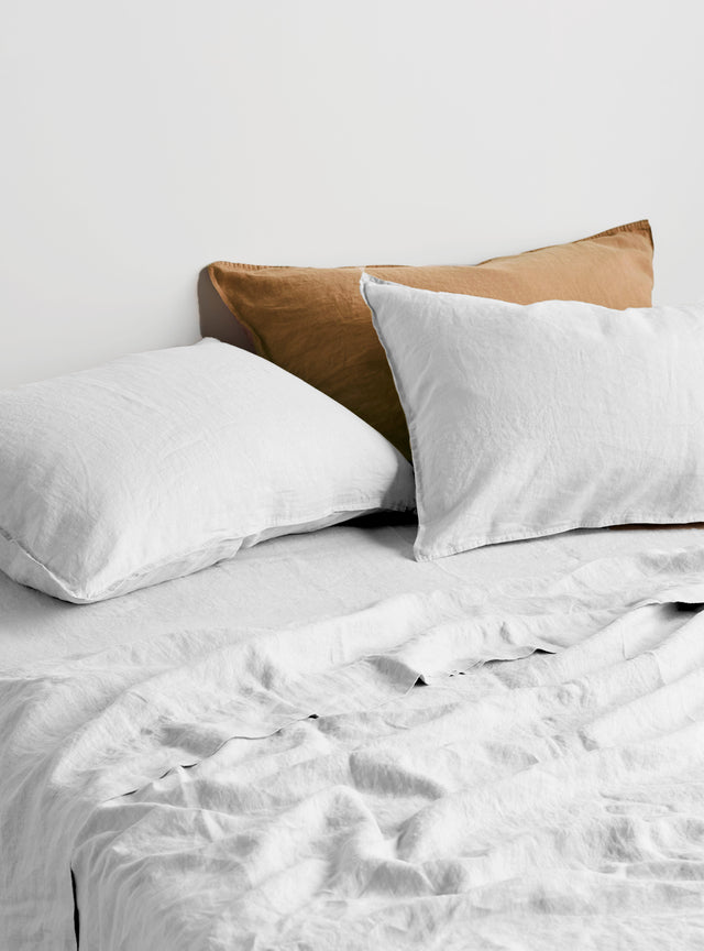White Linen Pillow Case Set