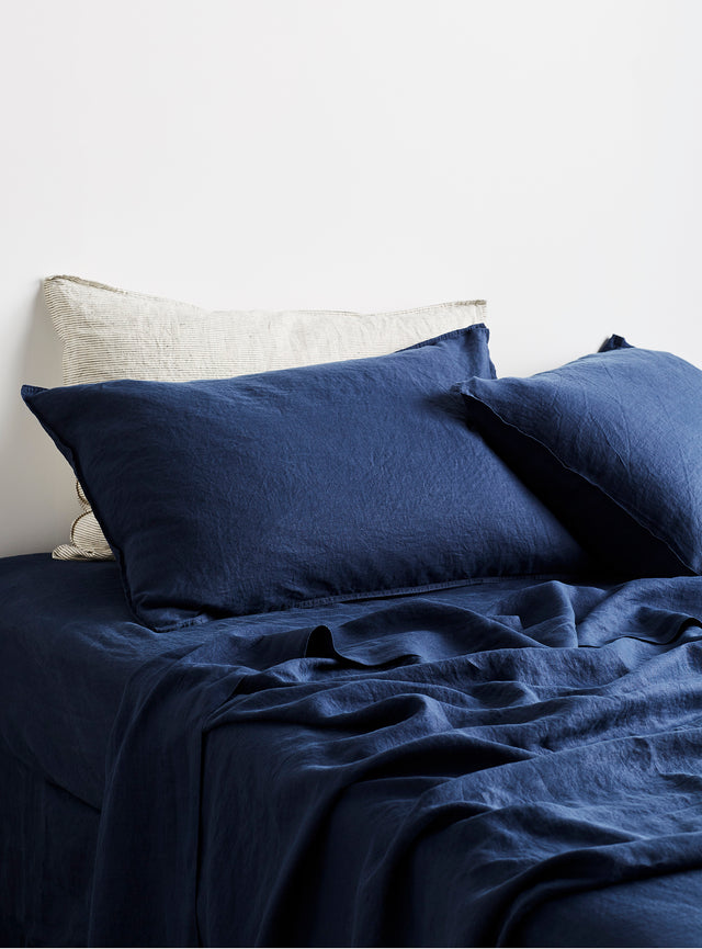 Navy Linen Fitted Sheet