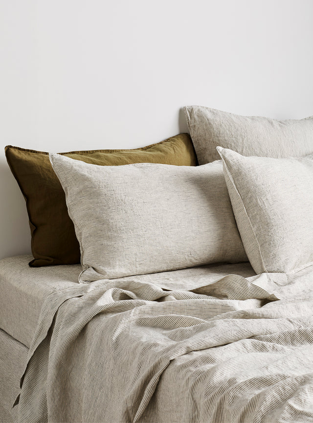 Charcoal Pinstripe Linen Pillow Case Set
