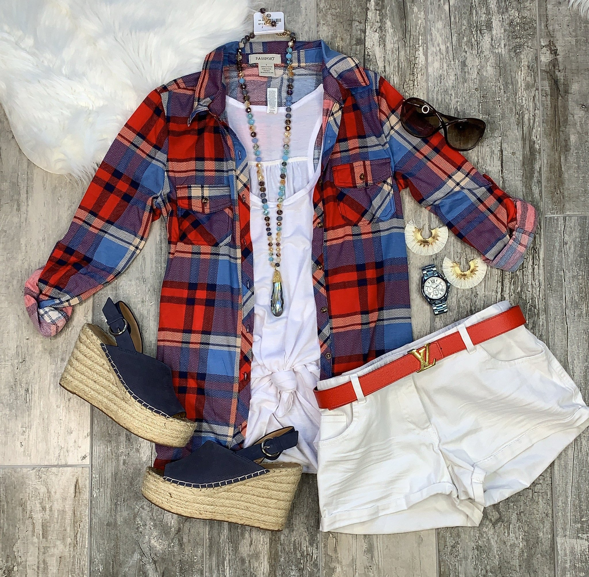 Penny Plaid Flannel Top: Red/Lt.Blue