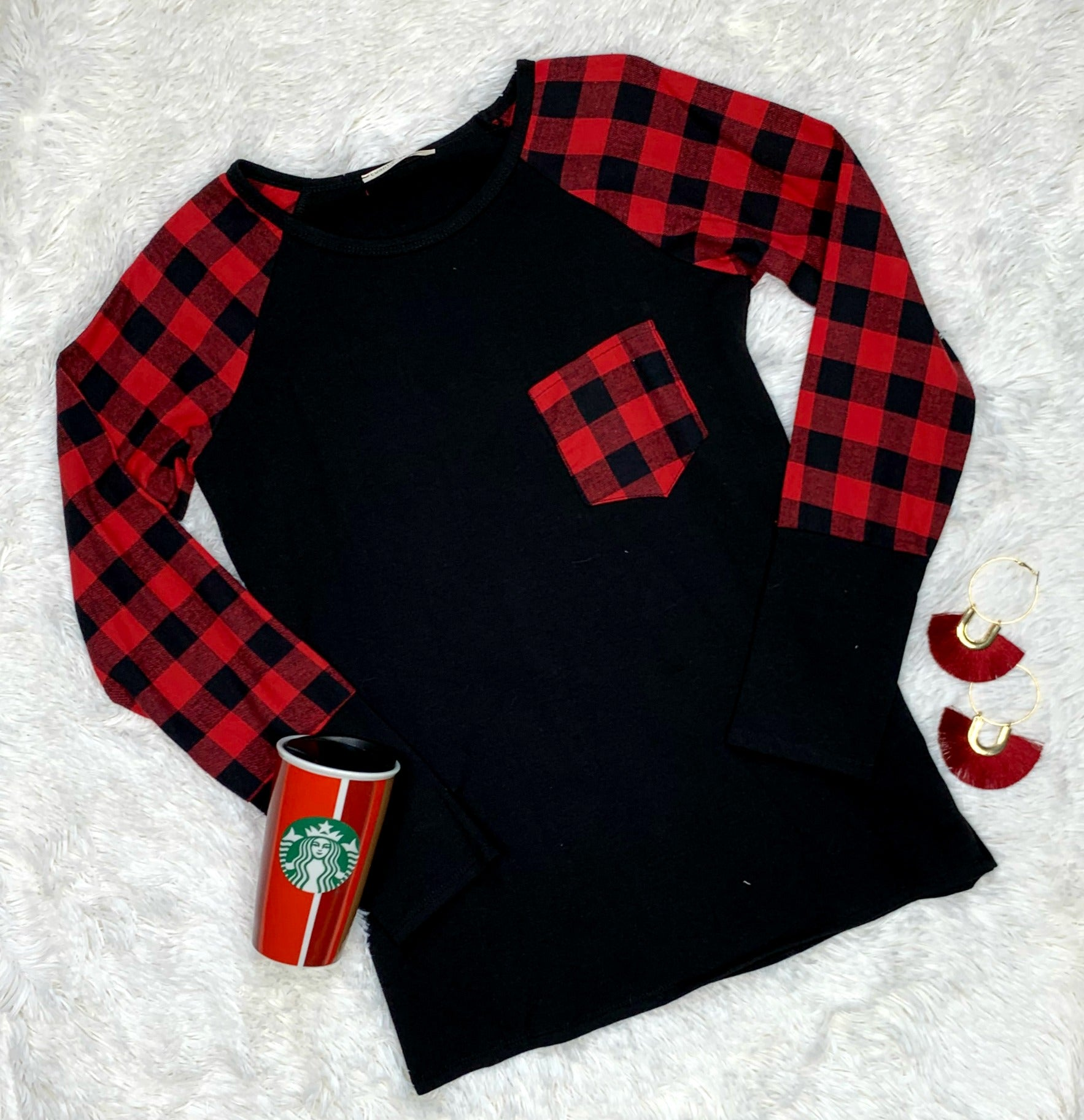 Holiday Feels Black Long Sleeve Top