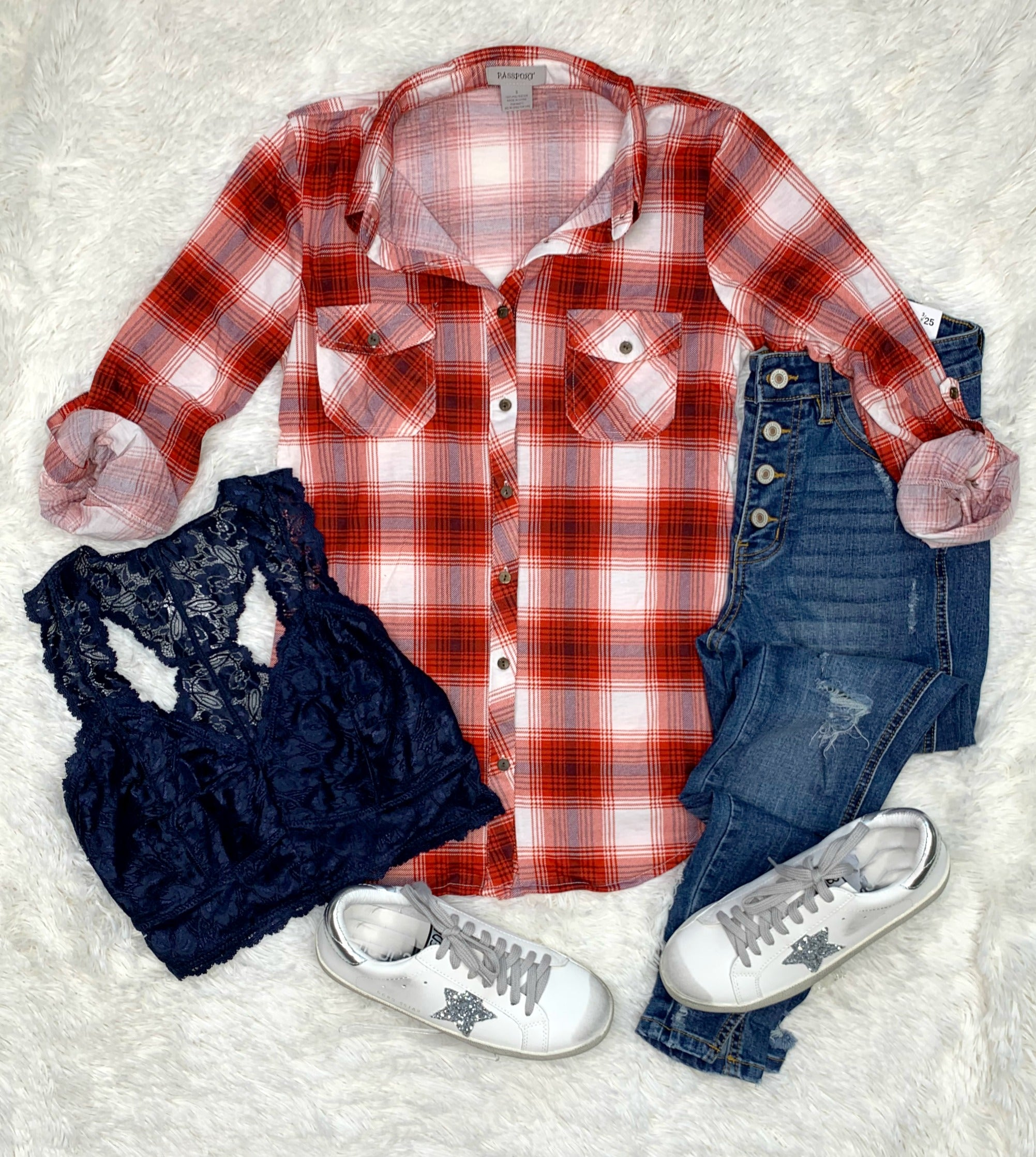 Penny Plaid Flannel Top -Red/Blue