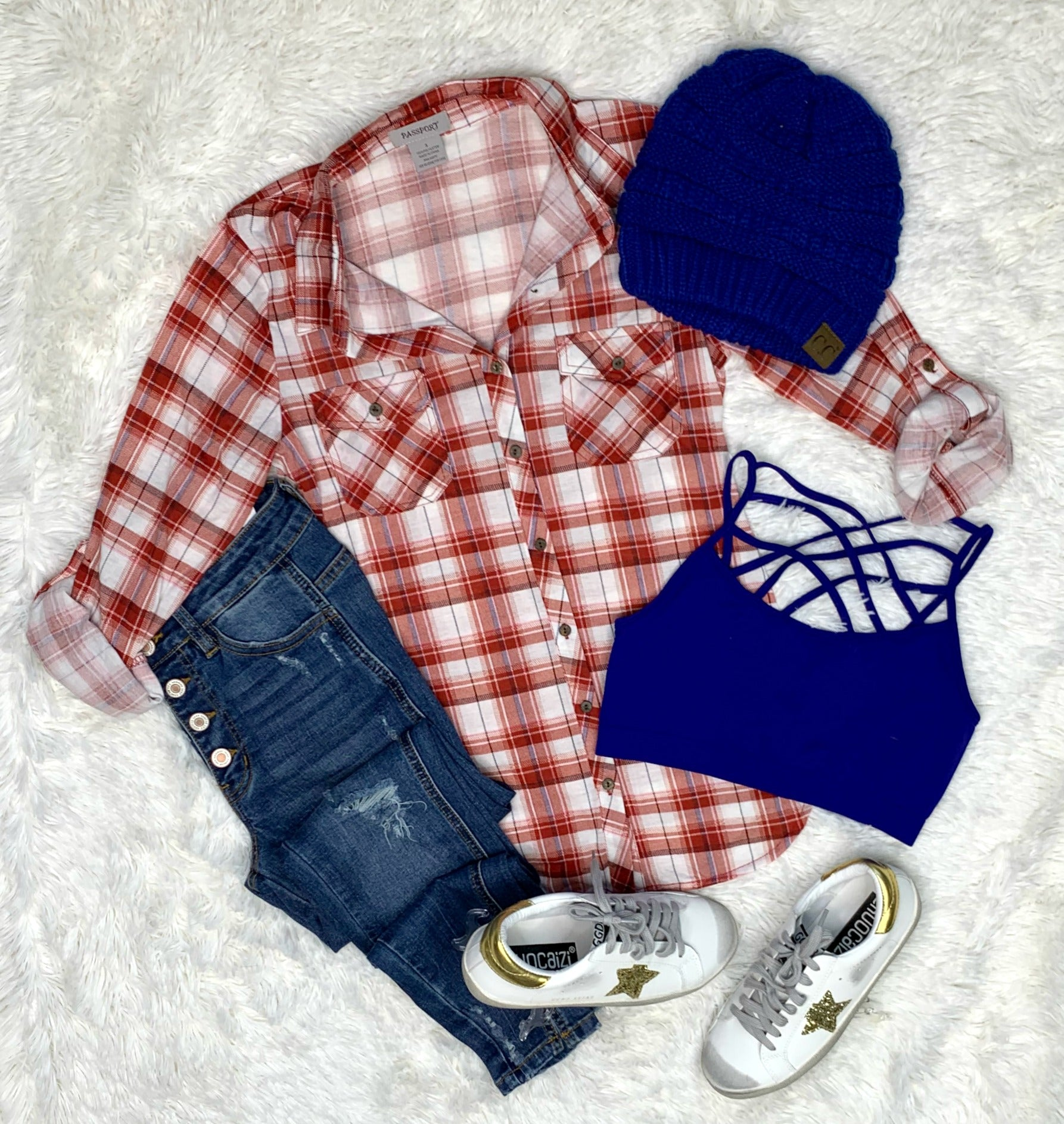 Penny Plaid Flannel Top -White/Red
