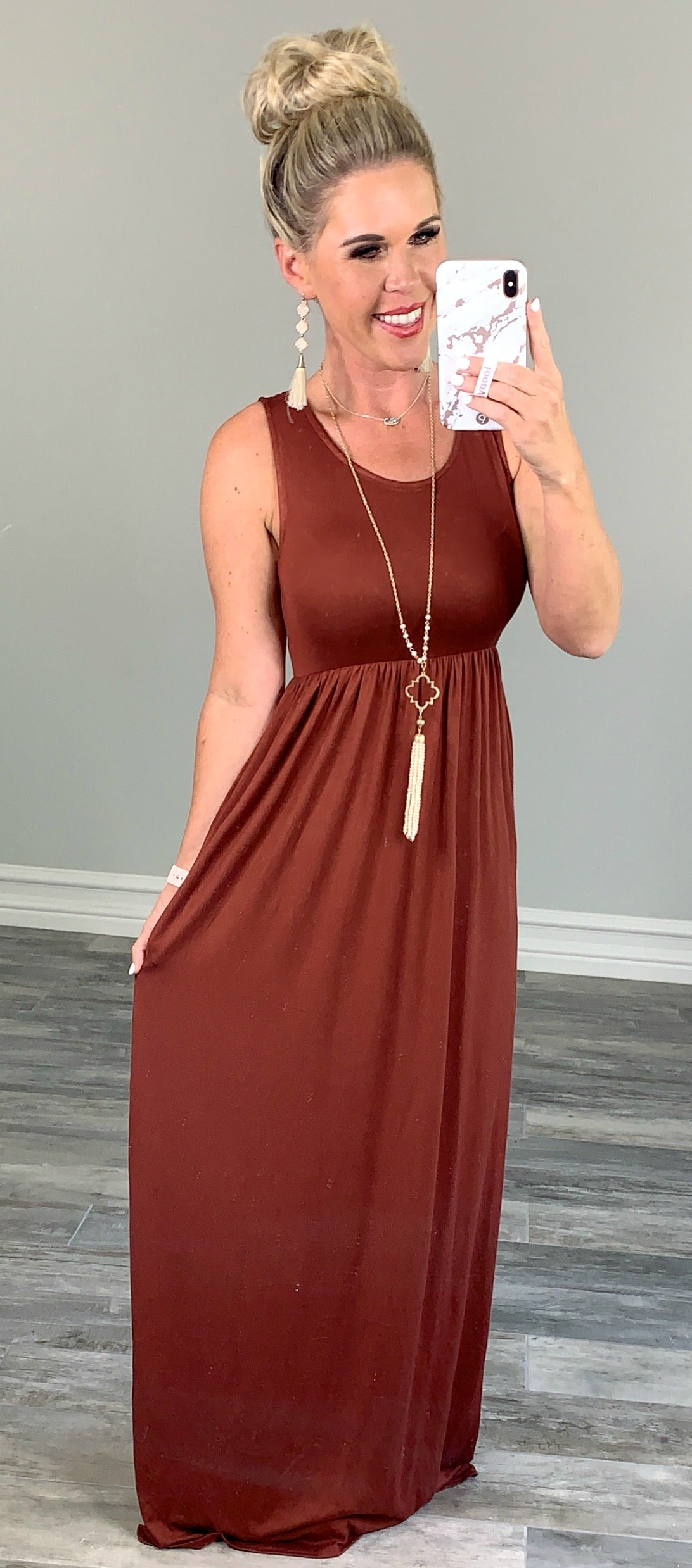I'll Be By the Pool Maxi Dress - Rust