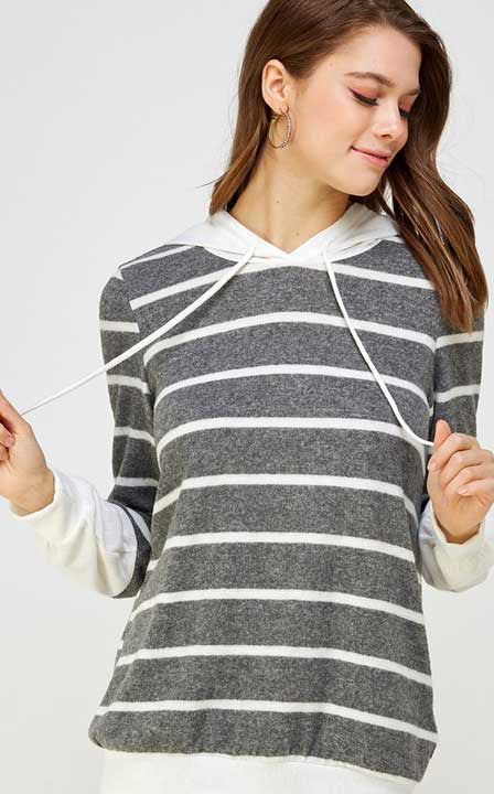 Weekend Happiness Striped Hoodie