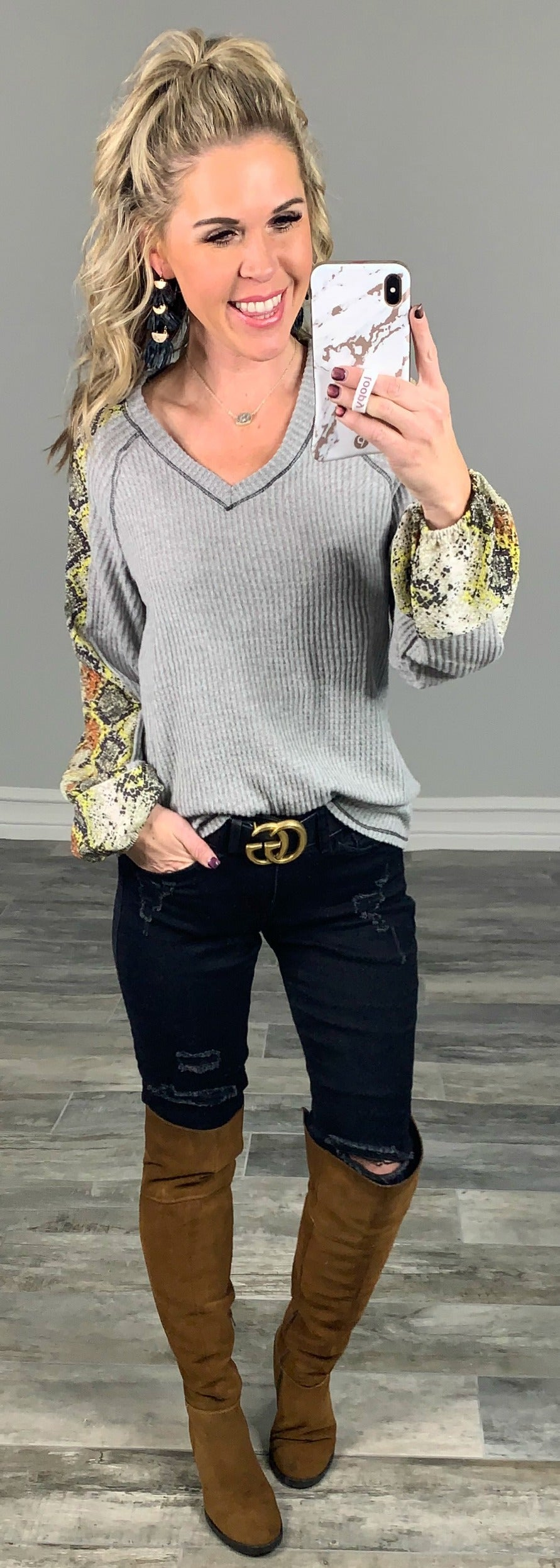 Just Ask Grey Multi Print Snake Top