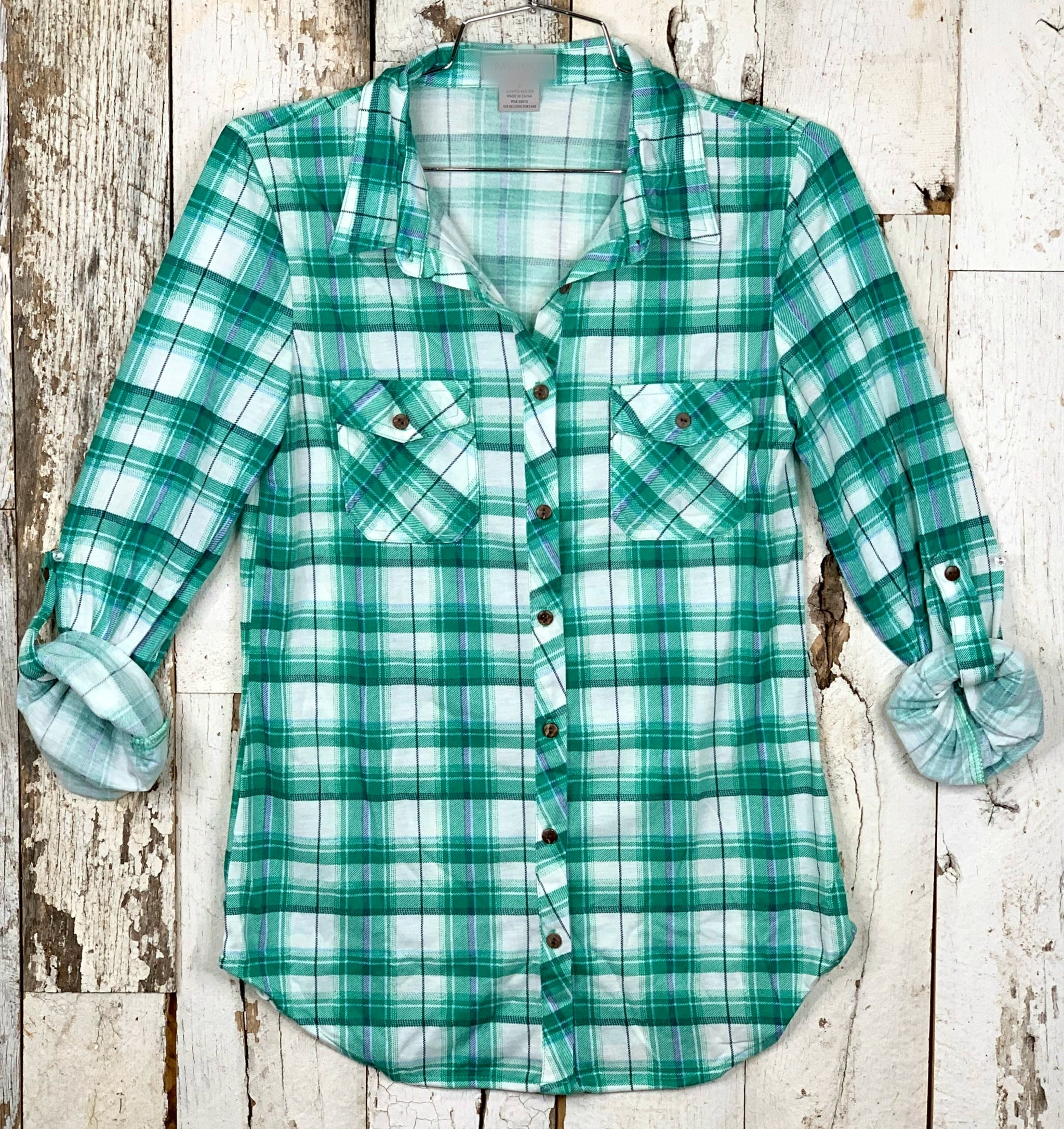 Penny Plaid Flannel Top - Green/White