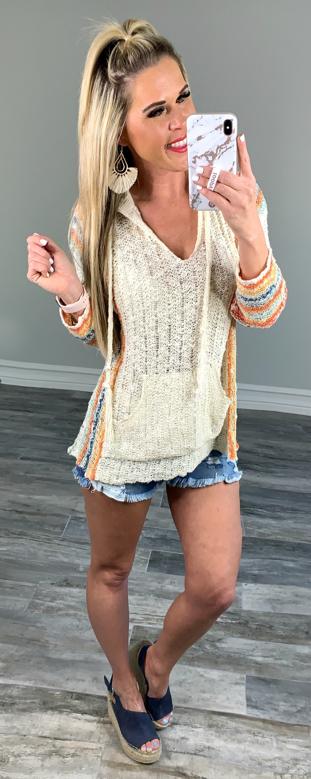 Sweet Stripe Hooded Summer Sweater