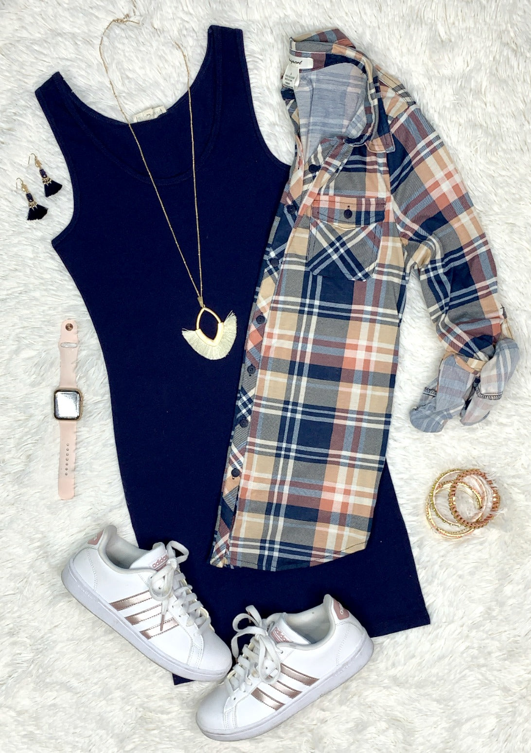 Penny Plaid Flannel Top - Navy/Blush