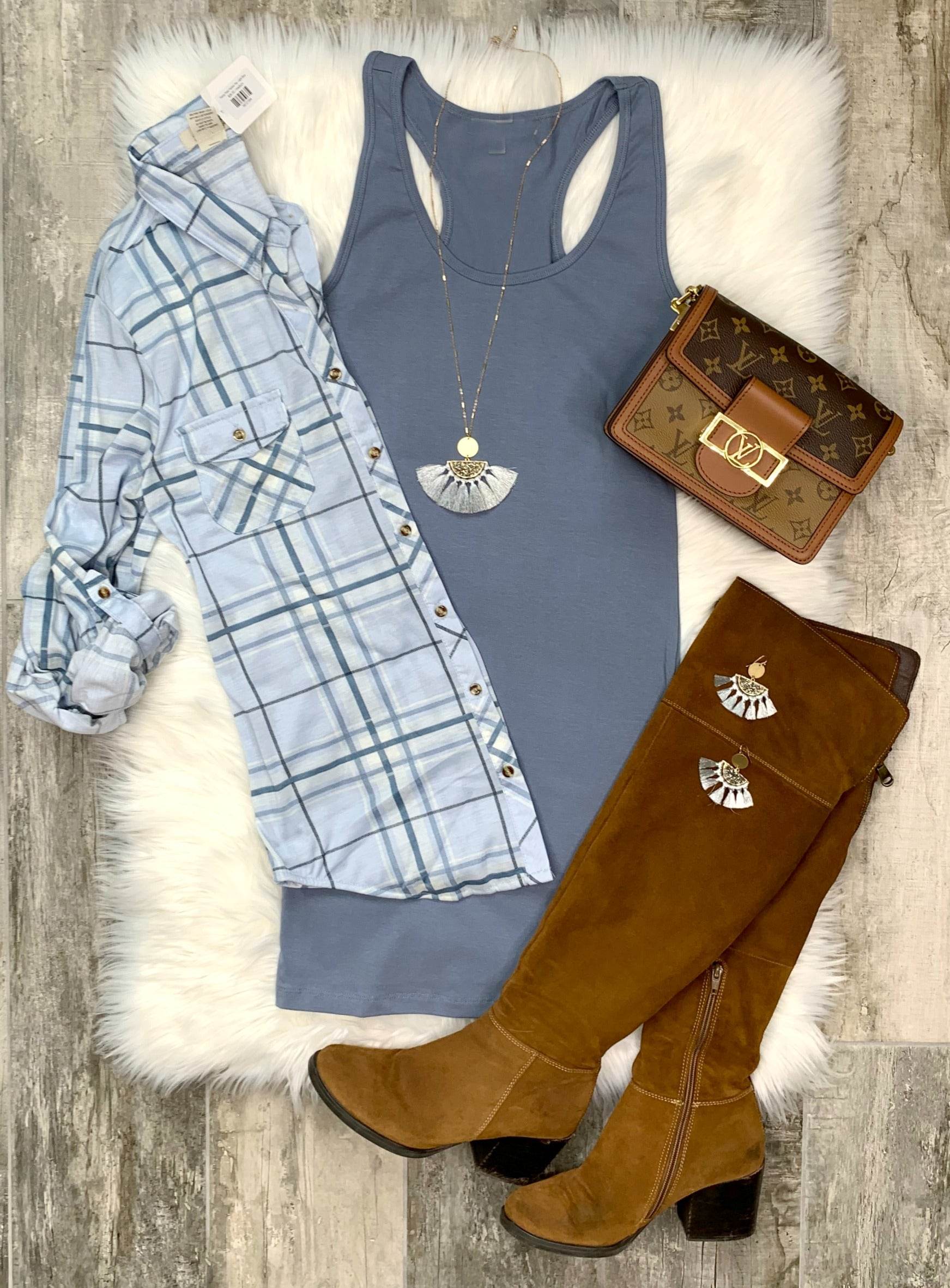 Penny Plaid Flannel Top: Light Blue