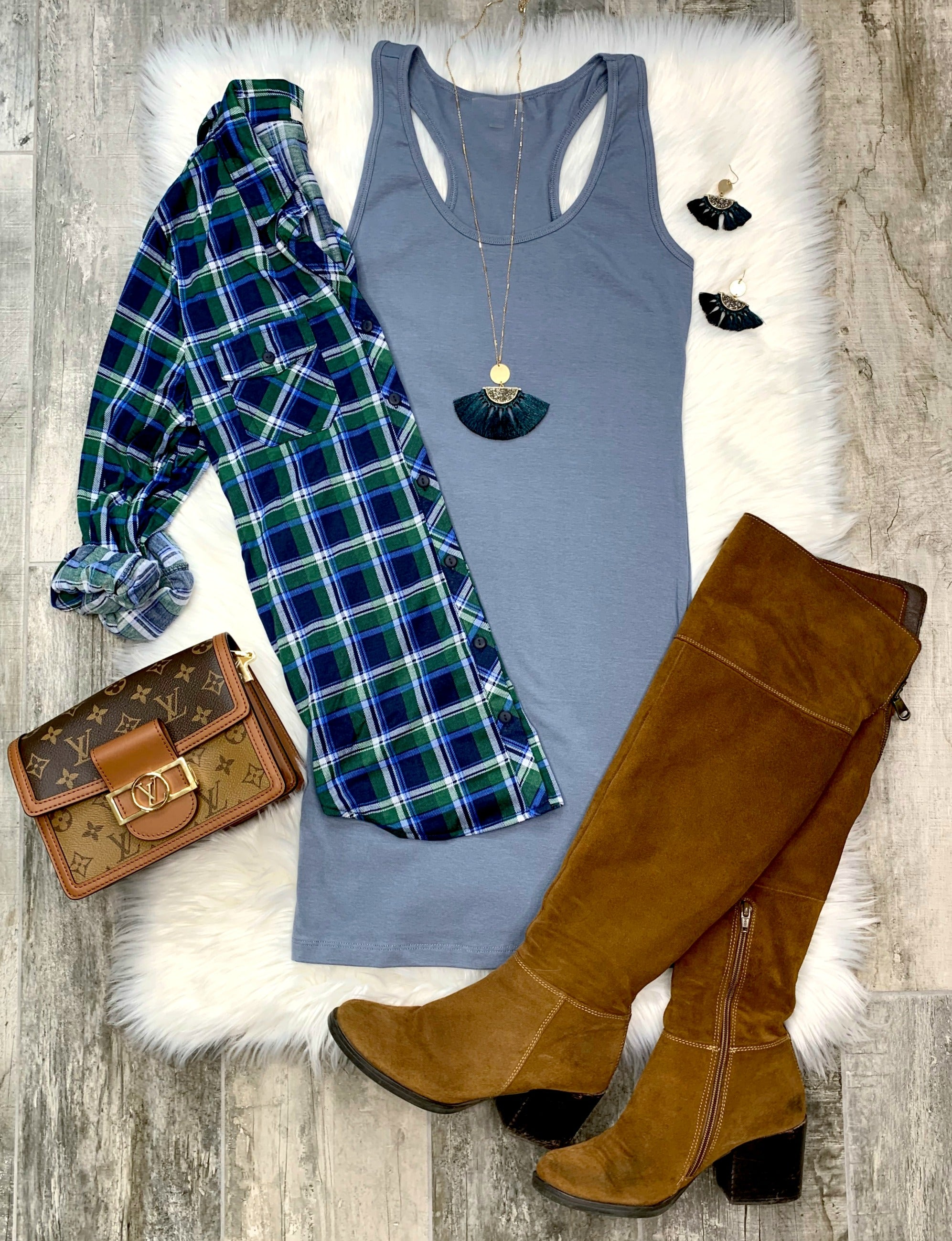 Penny Plaid Flannel Top - Green/Blue