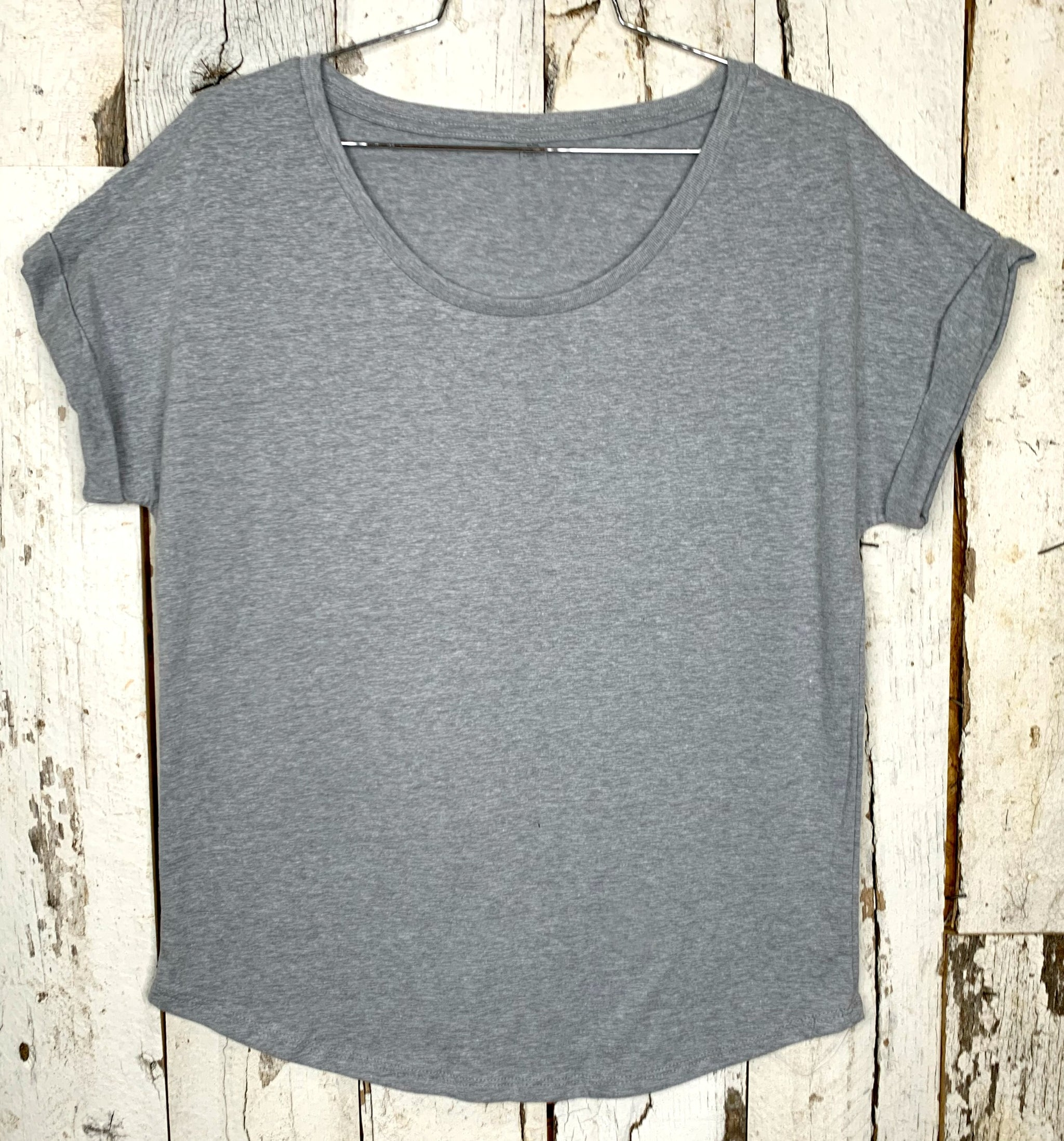 Practically Perfect Rolled Sleeve Tee - Grey