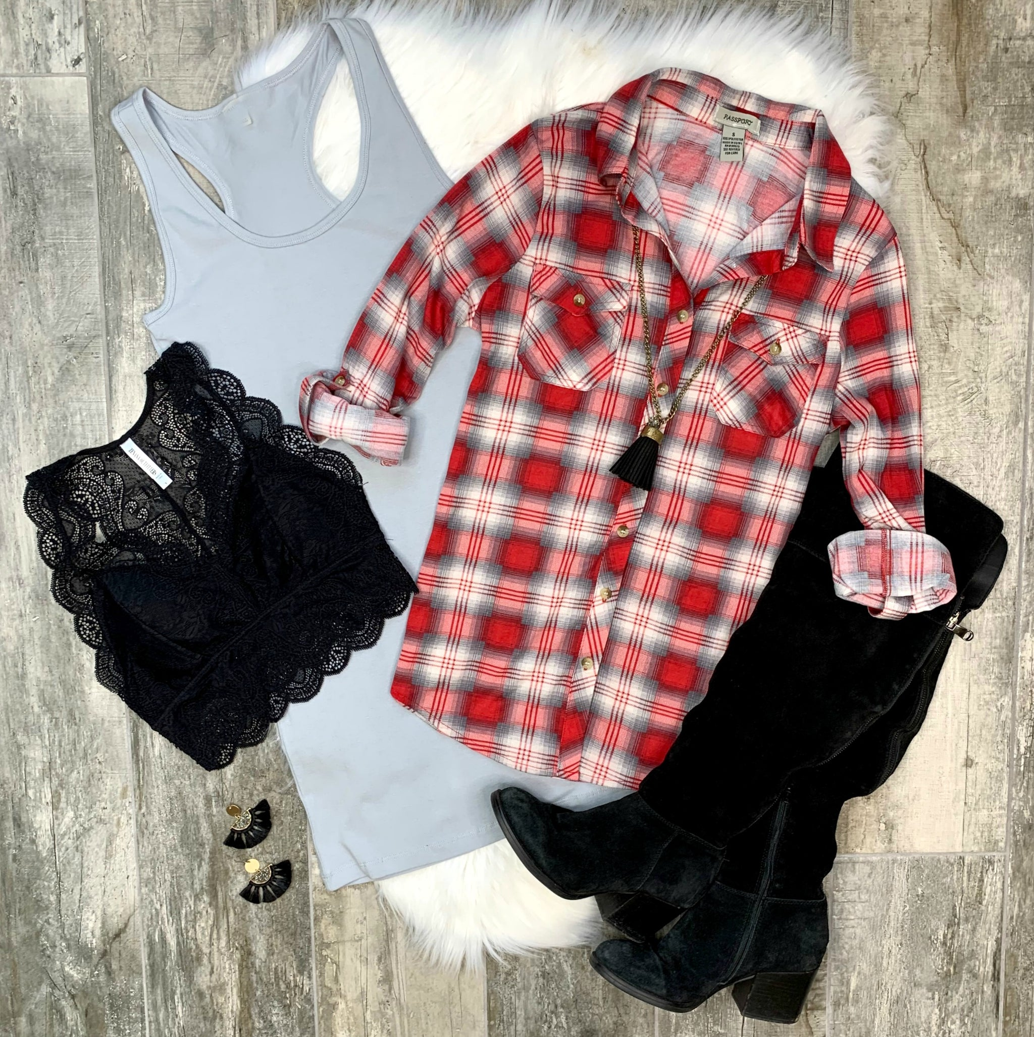 Penny Plaid Flannel Top - Red/Grey