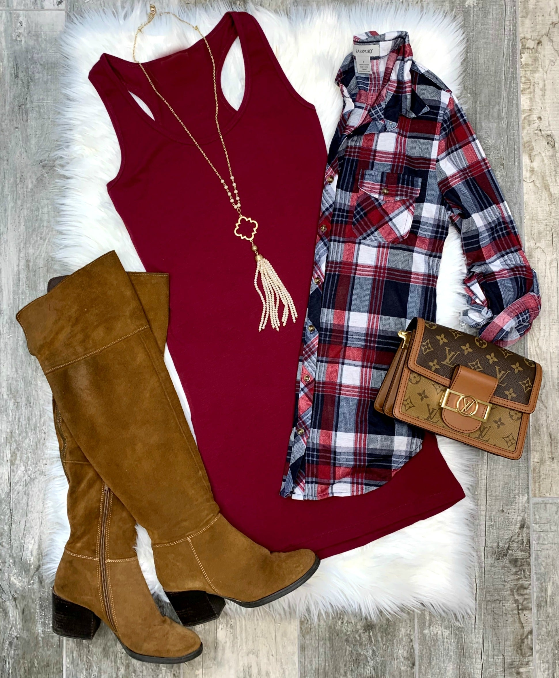 Penny Plaid Flannel Top - Burgundy/Navy/White