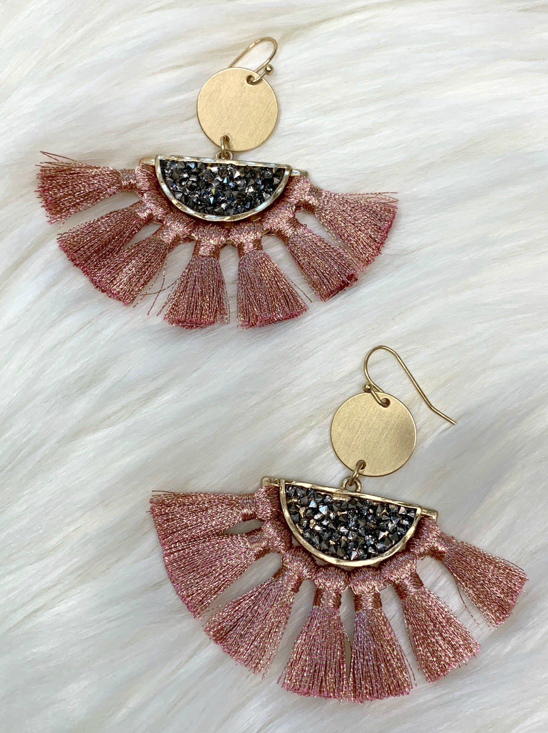 Stand Out Tassel Earrings: Rose