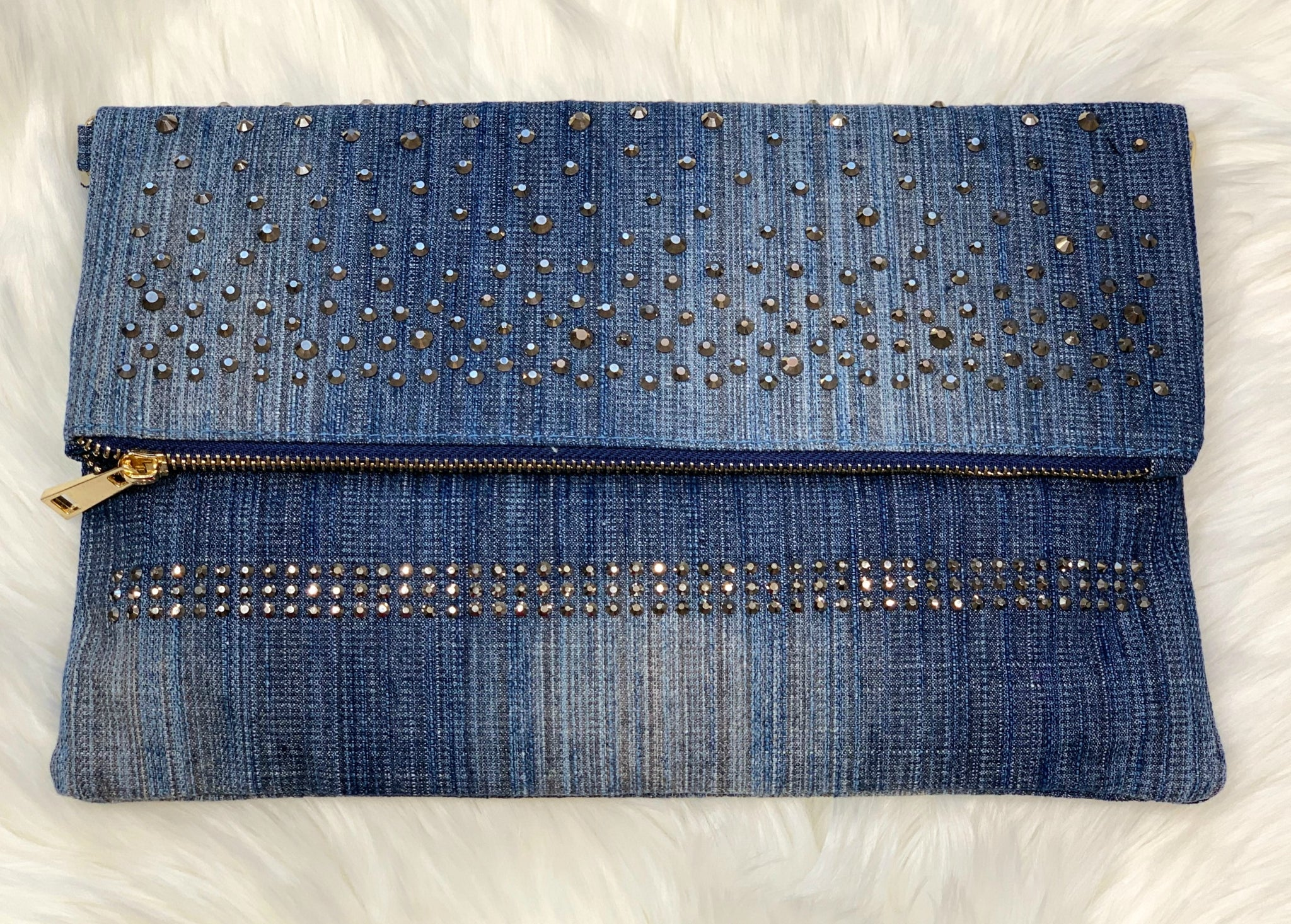 Denim & Bling Clutch