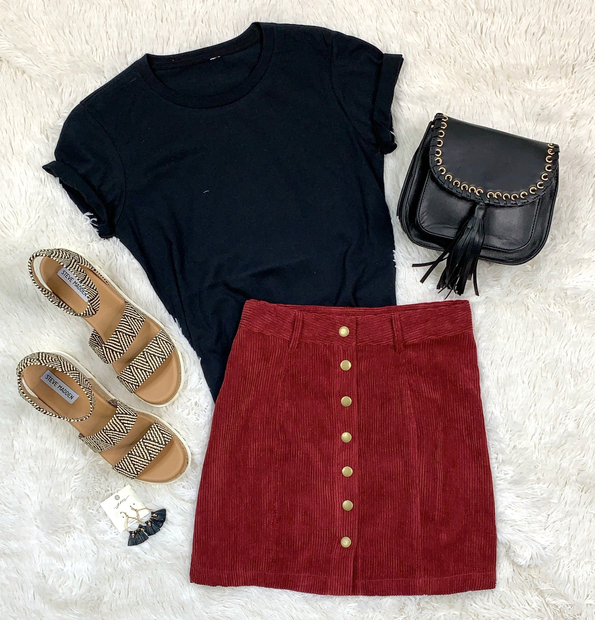 Find the Answers Corduroy Skirt: Burgundy