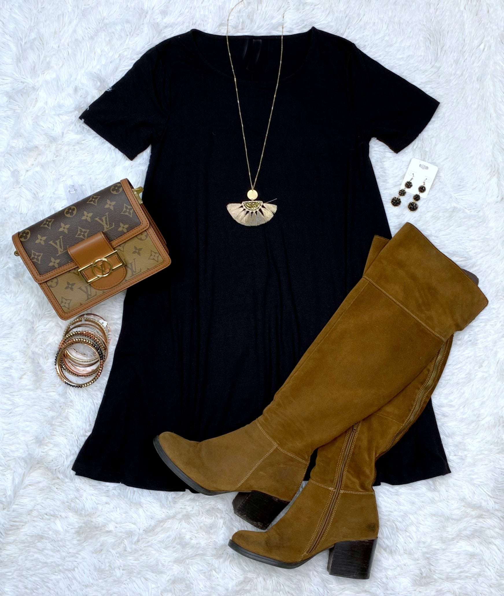 What You Deserve Black T-Shirt Dress