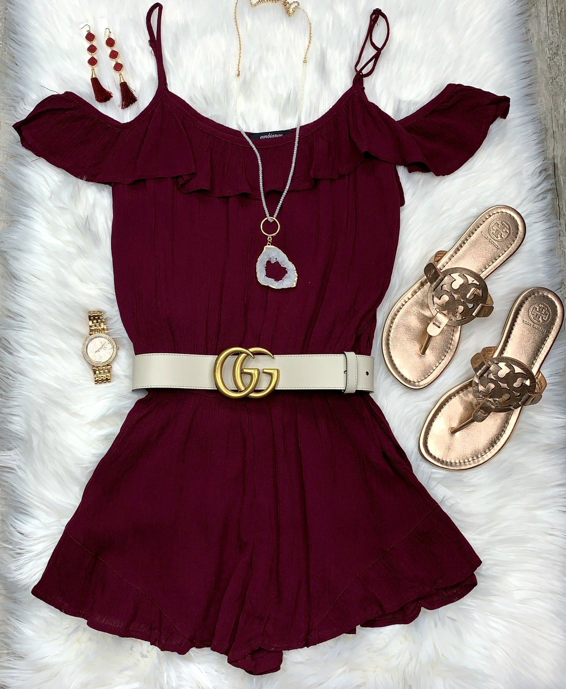 Make It Interesting Ruffled Cold Shoulder Romper - Burgundy